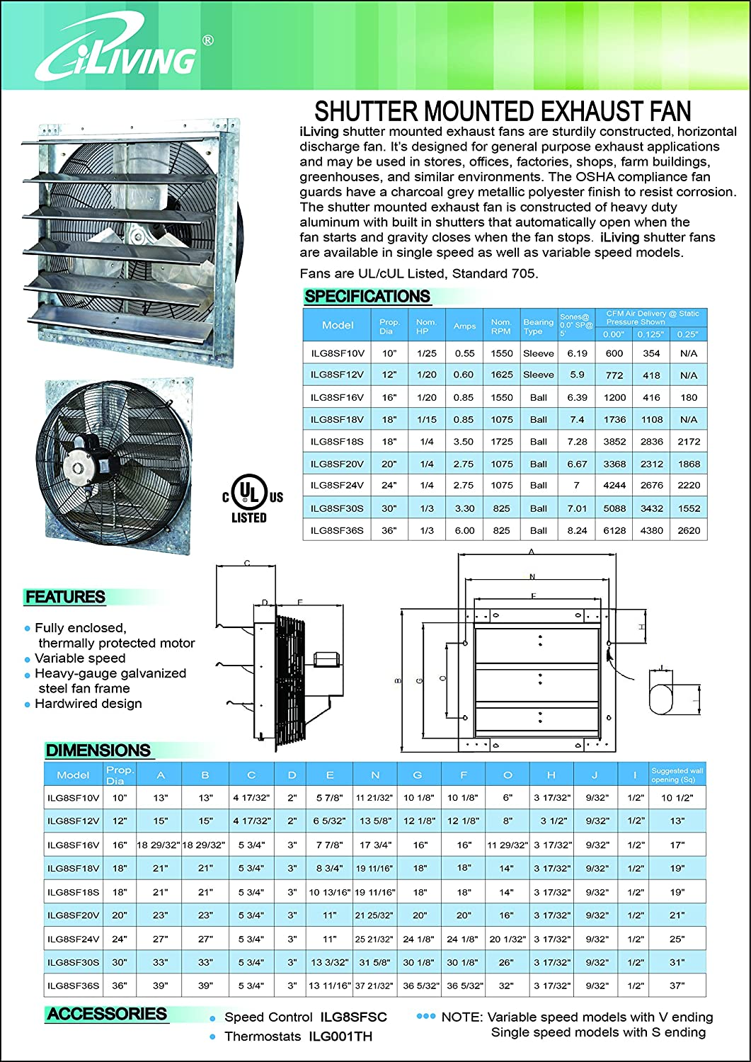 Iliving 20 Inch Variable Speed Shutter Exhaust Fan, Wall-Mounted, 20