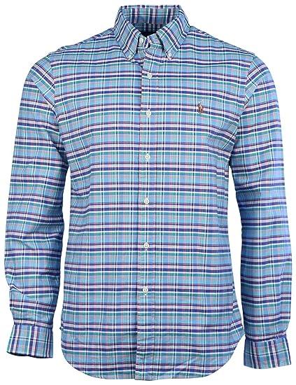Polo Ralph Lauren Hombre Plaid Botón de manga larga plumón shirt ...
