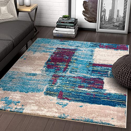 Well Woven Rumsey Boxes Blue Modern Geometric Squares 8×10 7 10 x 9 10 Area Rug