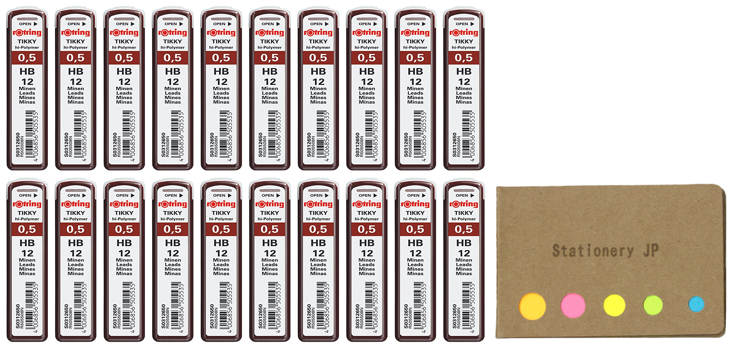 Rotring Tikky Mechanical Pencil Leads 0.5mm HB, 20 Pack/total 240, Sticky Notes Value Set by Stationery JP (Image #1)