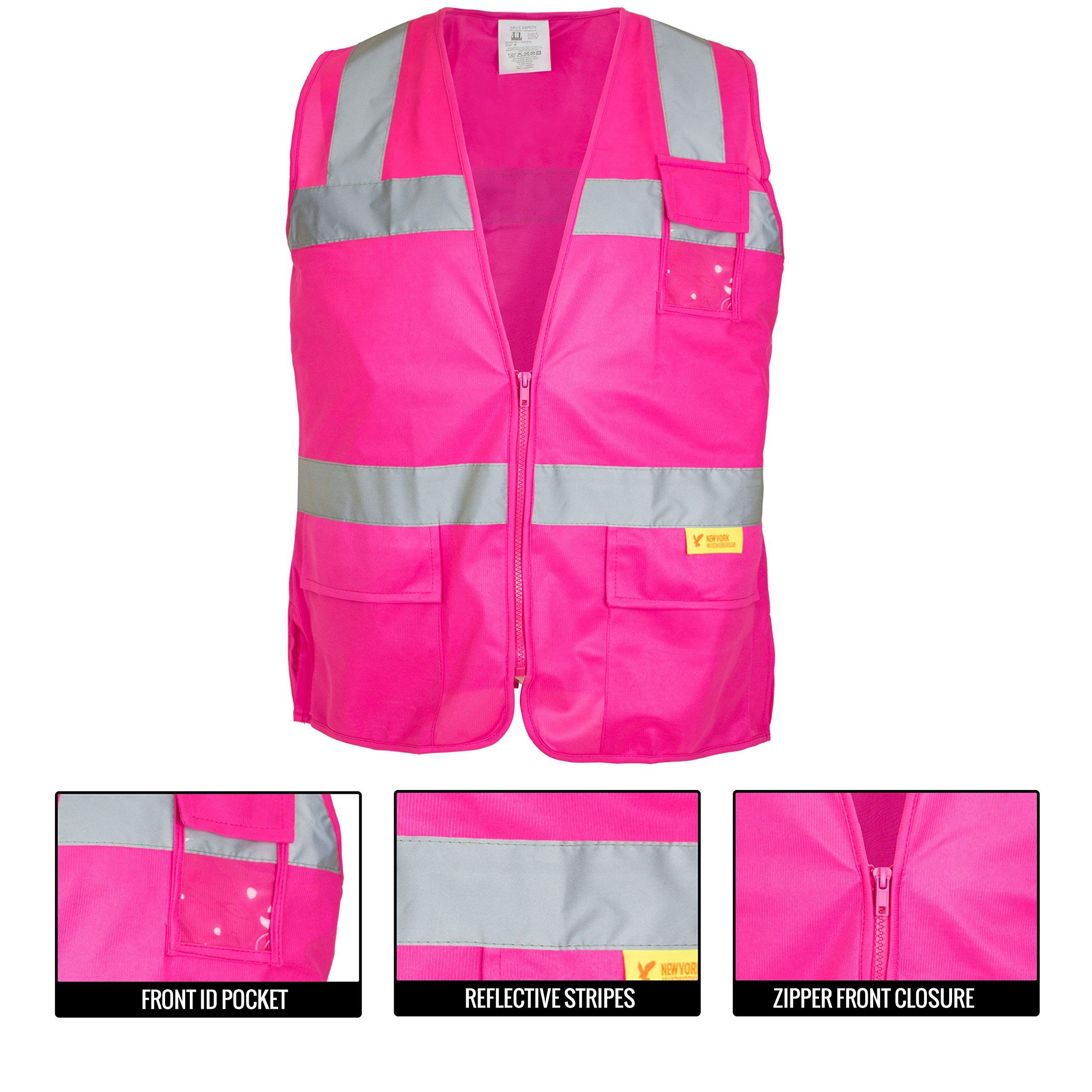 RK Safety PK0430 ANSI/ISEA Class 2 Certified Female Safety Vest (Pink, Medium) by New York Hi-Viz Workwear (Image #3)