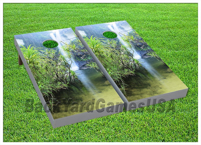 ビニールラップCornholeボードデカールTropical WaterfallバッグToss Gameステッカー198   B0765DJBQN