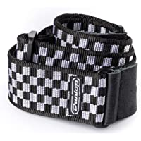 Dunlop D38 Classic Woven Guitar and Bass Straps Black & White Checker