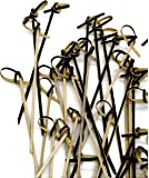 PuTwo Handmade Cocktail Picks 100 Counts Bamboo Cocktail Sticks Toothpicks Party Supplies - Black