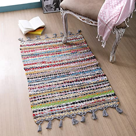 Handwoven Rag Rug Rugs Runner Multiple Sizes and Color Combinations Hit and Miss purple teal blue yellow green pink