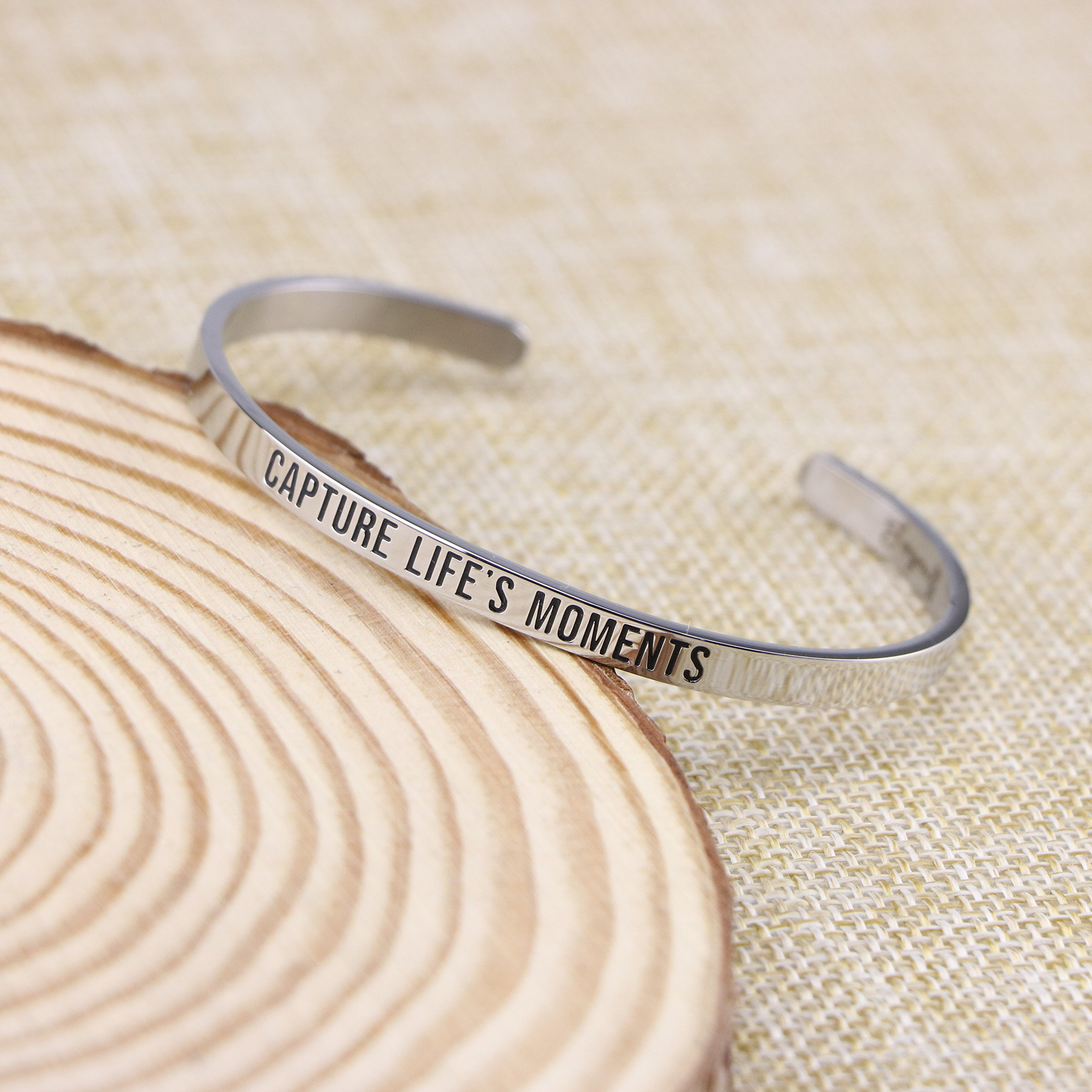 Joycuff New Mom Gift Mantra Cuff Bracelets Photographer Travel Jewelry Capture life's moments by Joycuff (Image #3)