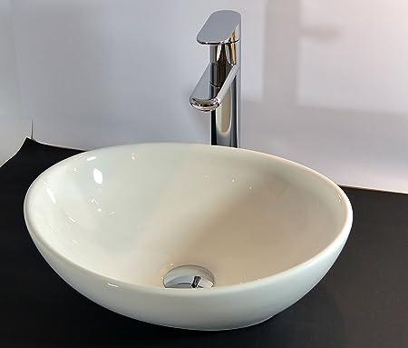 Kleines Keramik Aufsatz Waschbecken oval Gäste WC 40x32cm: Amazon ...   {Aufsatzwaschbecken gäste wc oval 18}