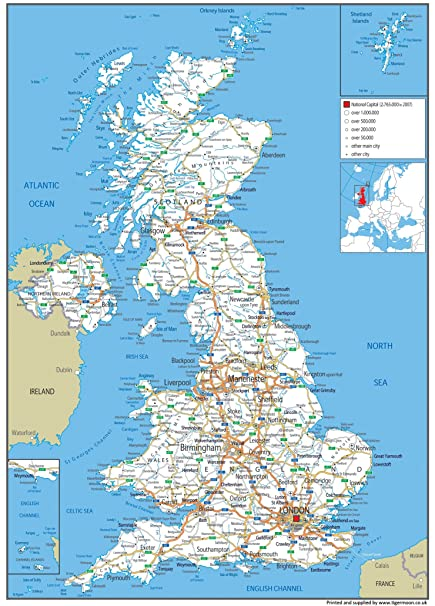 Map Of Uk Rivers And Mountains.High Quality Uk Road Map A1 Paper Laminated