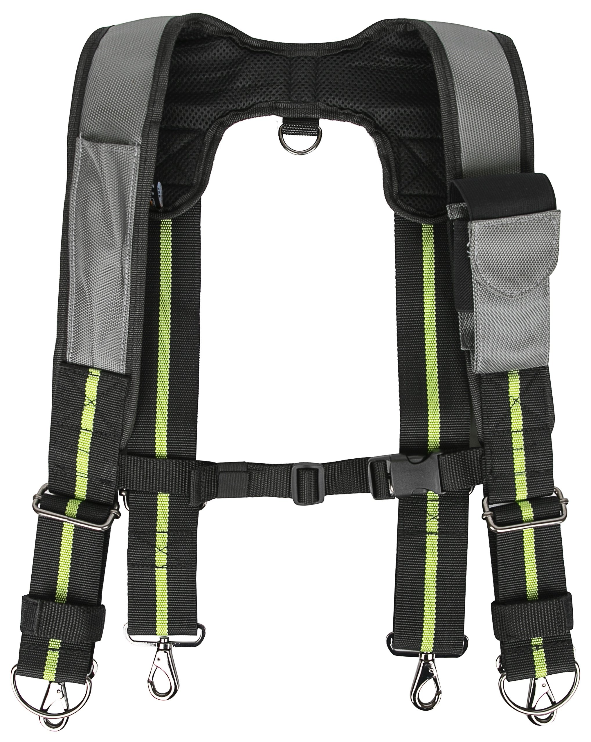 Padded Tool Belt Suspenders w/Phone Pocket, Chest Strap, Pencil Sleeve | Lightweight Comfortable & Strong Durable | Adjustable 1680D Ballistic Nylon | Contractor Grade Framer Suspension Rig