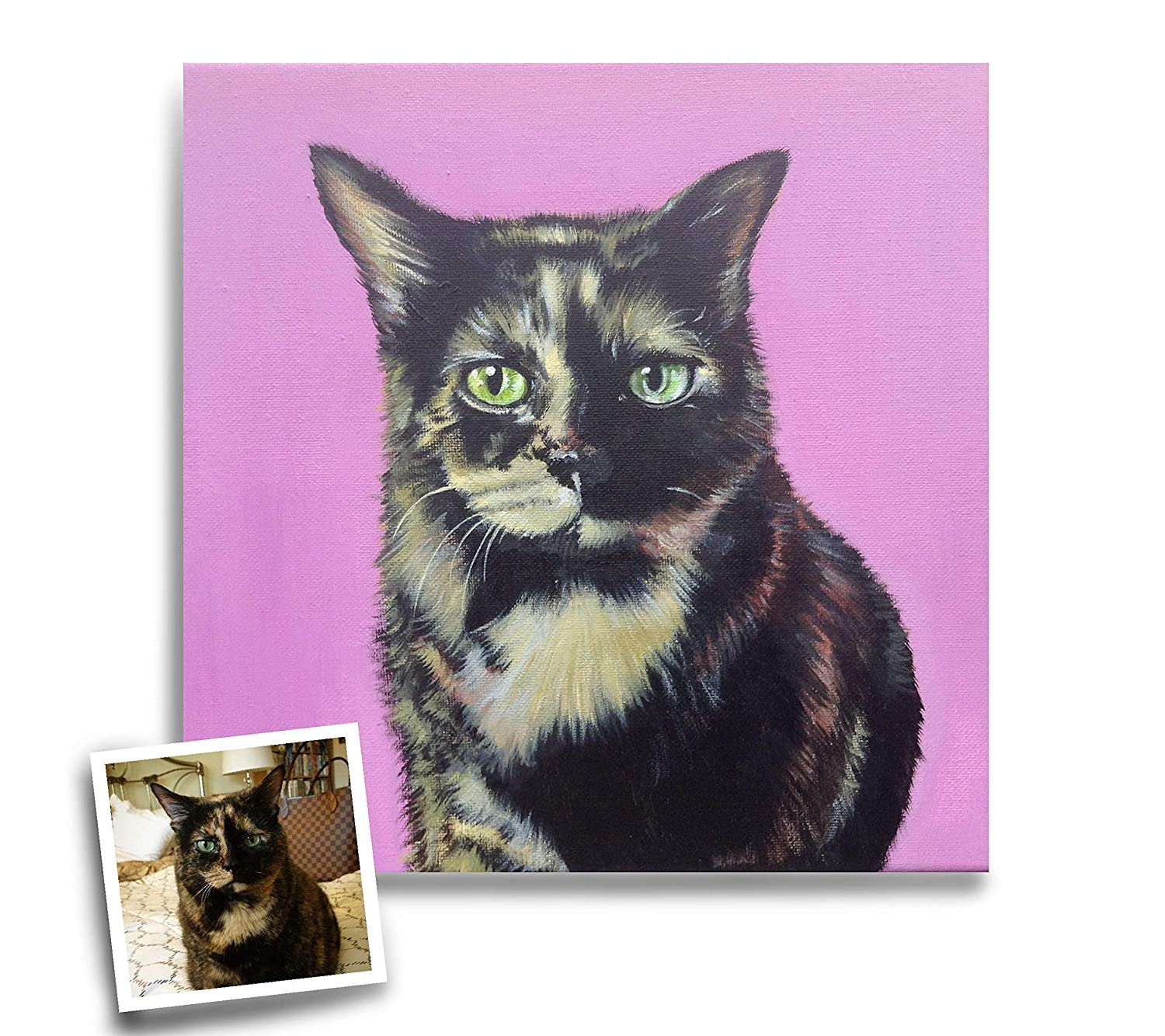 4b2905165f60 Amazon.com: Custom cat portrait with solid background acrylic painting on  canvas 12