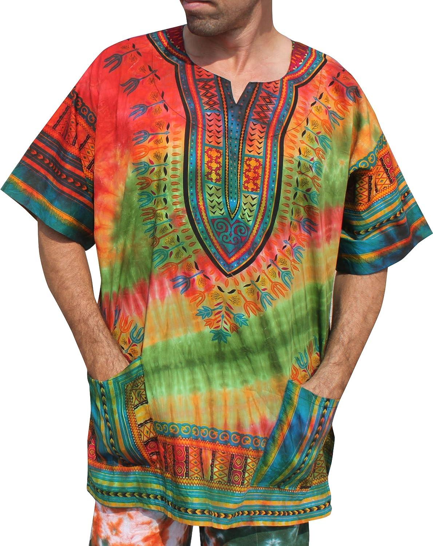 bluee Green Raan Pah Muang RaanPahMuang African Dashiki Mexican Wild Tie Dyed Short Sleeve Shirt XS7XL