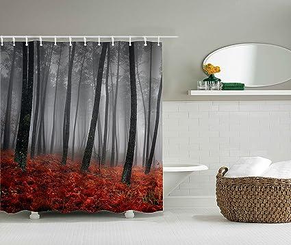 Amazon Pretyme Red Gray Forest Home Decor Bathroom Fabric