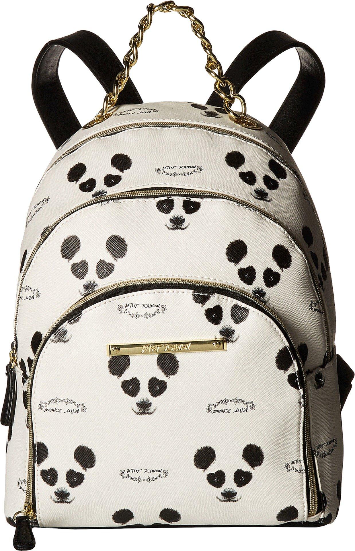 Betsey Johnson Women's Triple Zip Backpack Cream/Black One Size