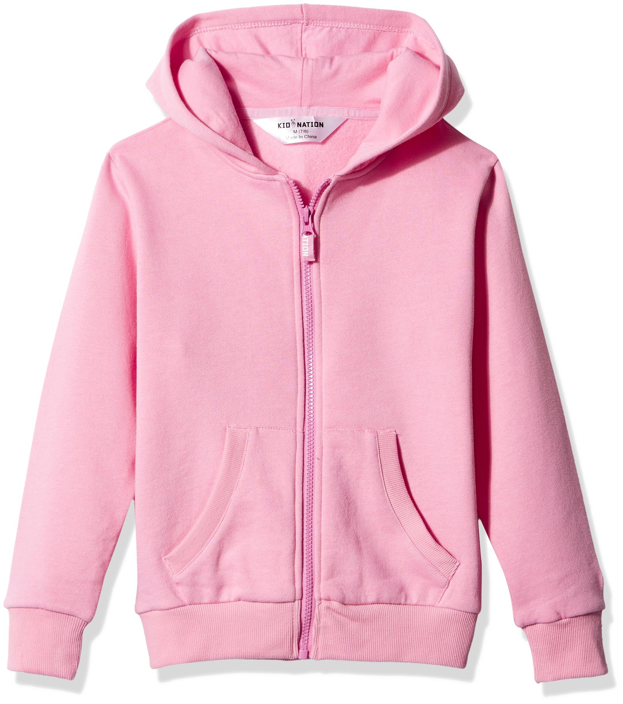Kid Nation Kids' Brushed Fleece Zip-up Hooded Sweatshirt for Boys Girls L Seashell Pink