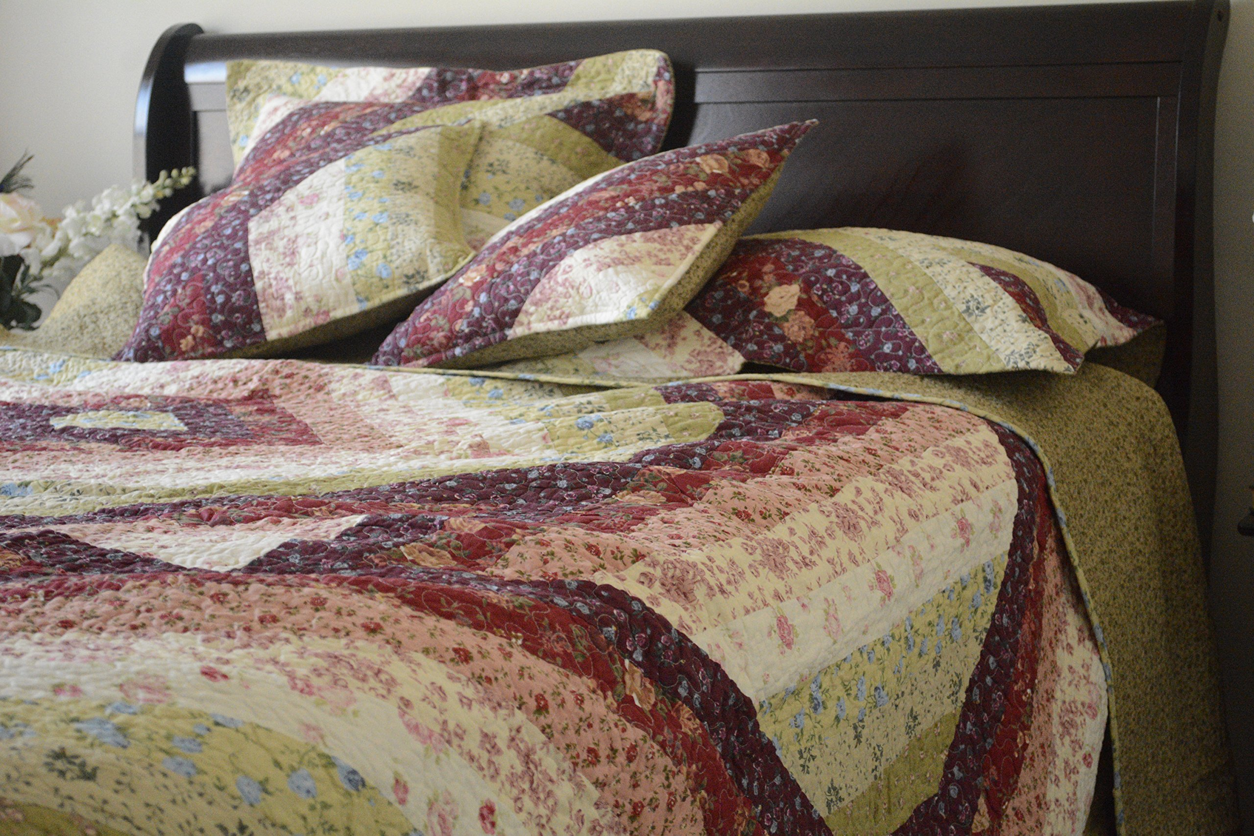 DaDa Bedding Bohemian Reversible Floral Garden Cotton Patchwork Quilted Coverlet Bedspread Set - Bright Vibrant Multi-Colorful Light Yellow Red Burgundy Garden Diamond Print - King - 5-Pieces