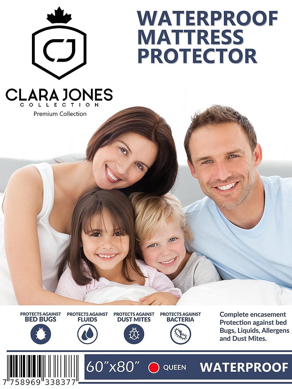 Waterproof Mattress Protector Queen Size ❤️ 100% Waterproof with Deep Pocket ▶ Hypoallergenic ◀ Breathable 100% Premium Cotton ❤️ by Clara Jones (Queen) - Ideal Gift Idea