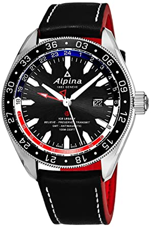 Amazoncom Alpina Alpiner Black Dial Leather Strap Mens Watch AL - Alpina gmt