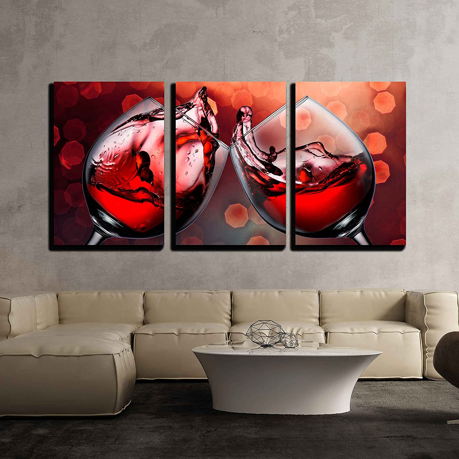 "wall26 - Red Wine Glass Cheers - Canvas Art Wall Decor - 16""x24""x3 Panels"