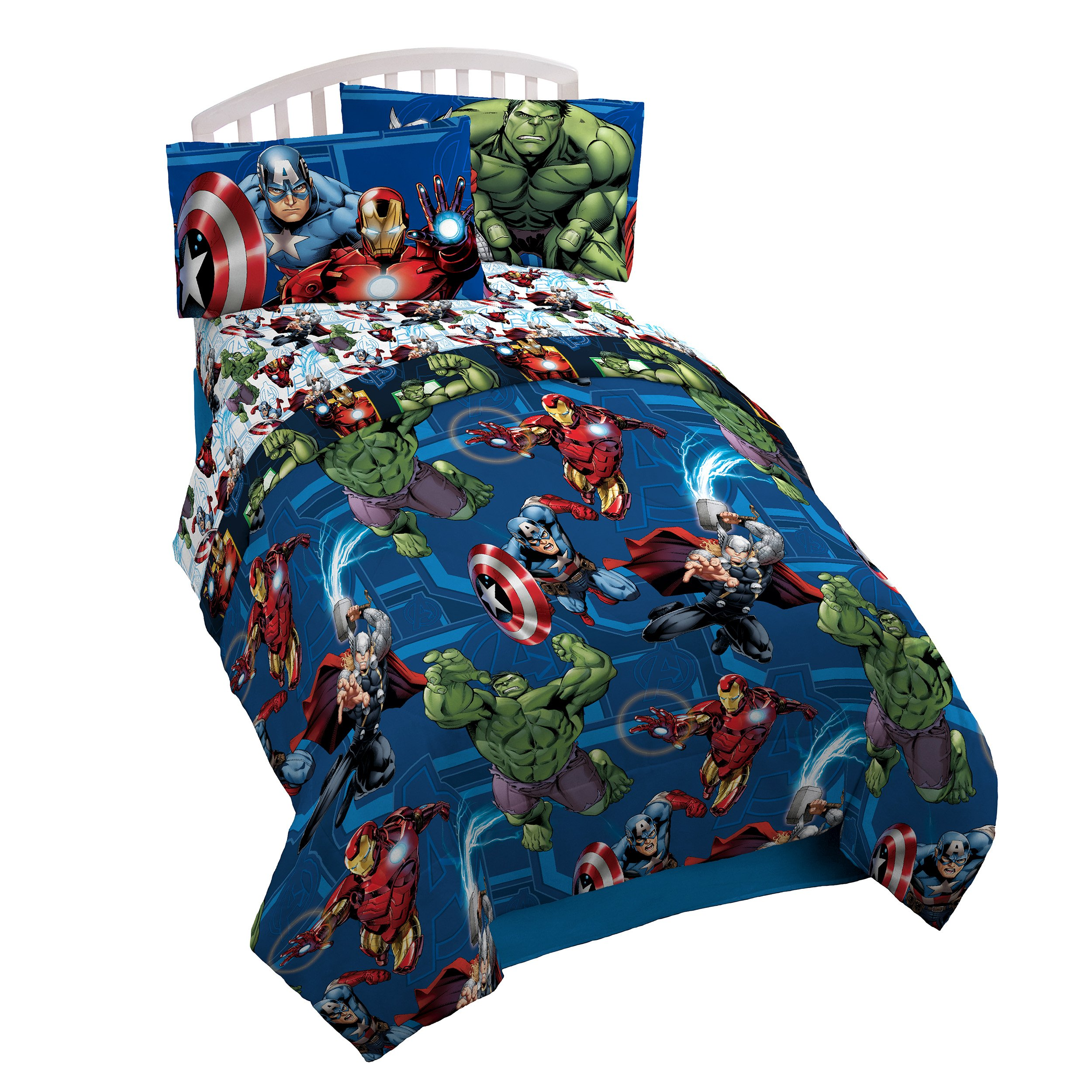 Marvel Avengers Heroic Age Twin Comforter - Super Soft Kids Reversible Bedding features Iron Man, Hulk, Captain America, and Thor - Fade Resistant Polyester Microfiber Fill (Official Marvel Product)