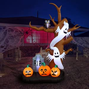 9 Foot Tall Halloween Inflatable Tree with Ghosts, Pumpkins, Owl and Tombstone LED Lights Decor Outdoor Indoor Holiday Decorations, Blow up Lighted Yard Decor, Lawn Inflatables Home Family Outside