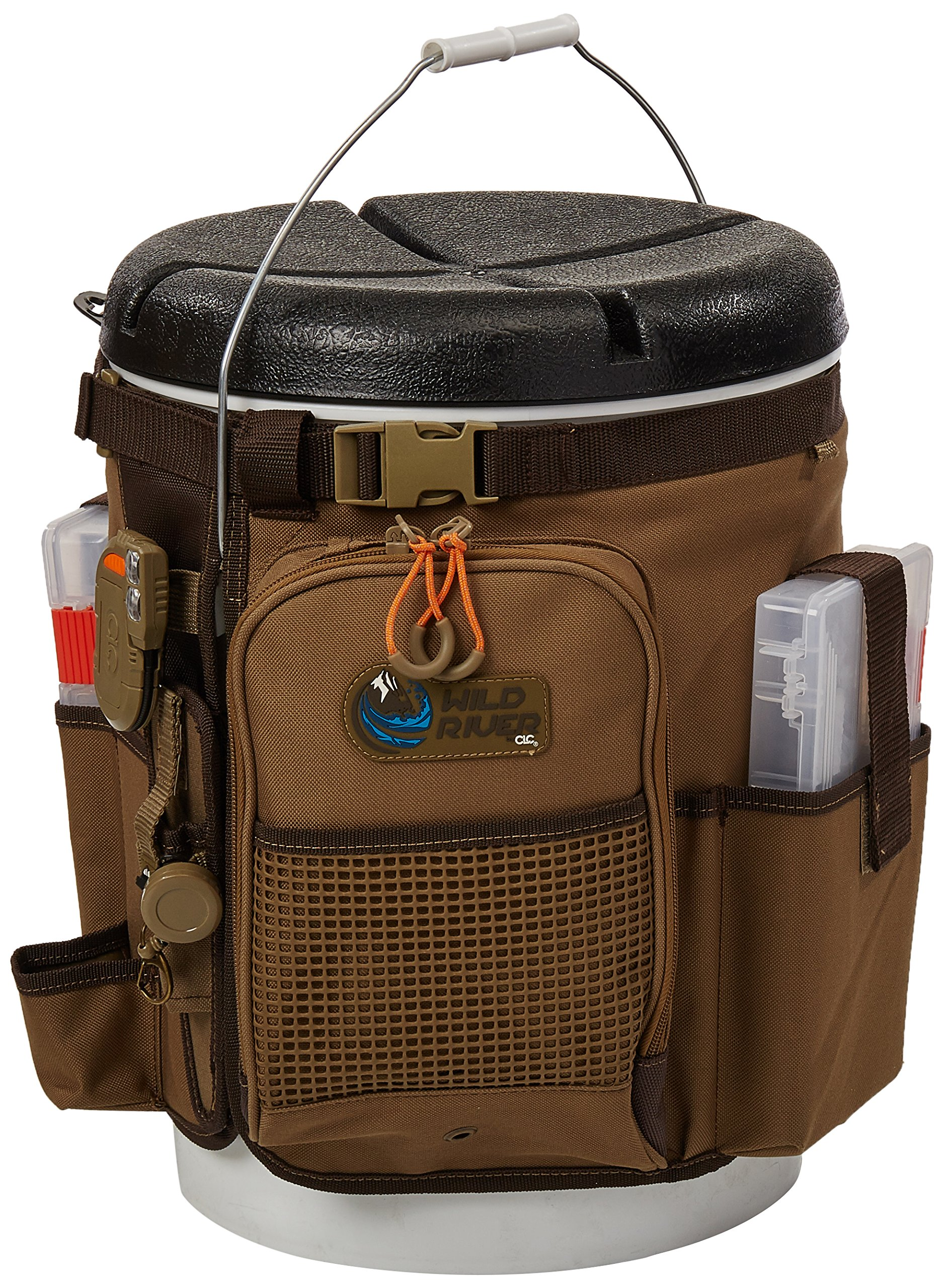 Custom Leathercraft Wild River by CLC WT3507 Tackle Tek Rigger Lighted Bucket Organizer with Plier Holder and Two PT3500 Trays