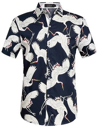 802b45255695 SSLR Men's Cotton Crane Button Down Short Sleeve Casual Hawaiian Shirt  (Small, Navy)