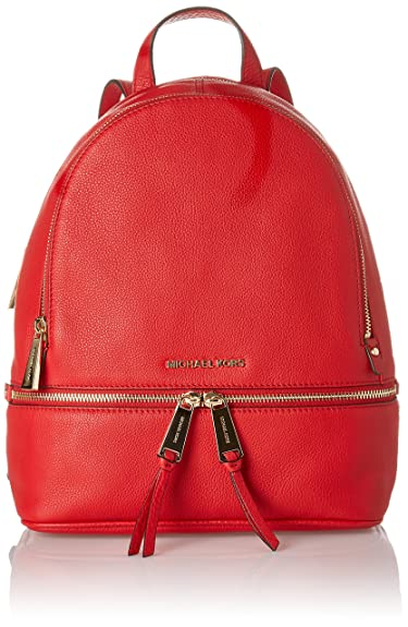 beaf85d9862c Michael Kors Womens Rhea Zip Backpack Handbag Red (Bright Red ...
