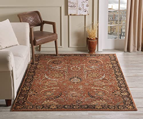 Golden Rugs Area Rug 5×7 Terra Traditional Bedroom Living room Dining Swirls Carpet Oriental Vintage Persian Floral Texture Hand Touch Texture 6909 Gabbeh Collection 5×7, Terra