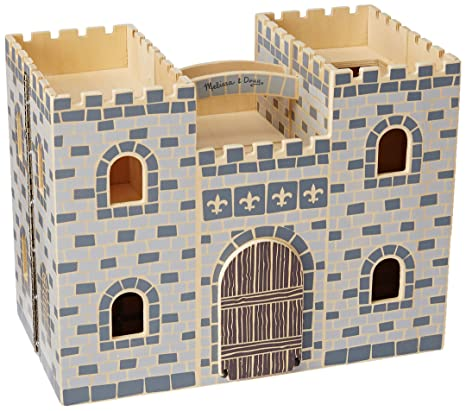 melissa doug fold and go wooden castle dollhouse with wooden dolls and horses 12