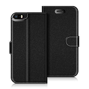 46875d15b8f COODIO Funda iPhone Funda Cuero iPhone 5S, Funda Cartera iPhone 5 Case con  Magnético/Billetera/Soporte para iPhone SE/iPhone 5S / iPhone 5, Negro: ...