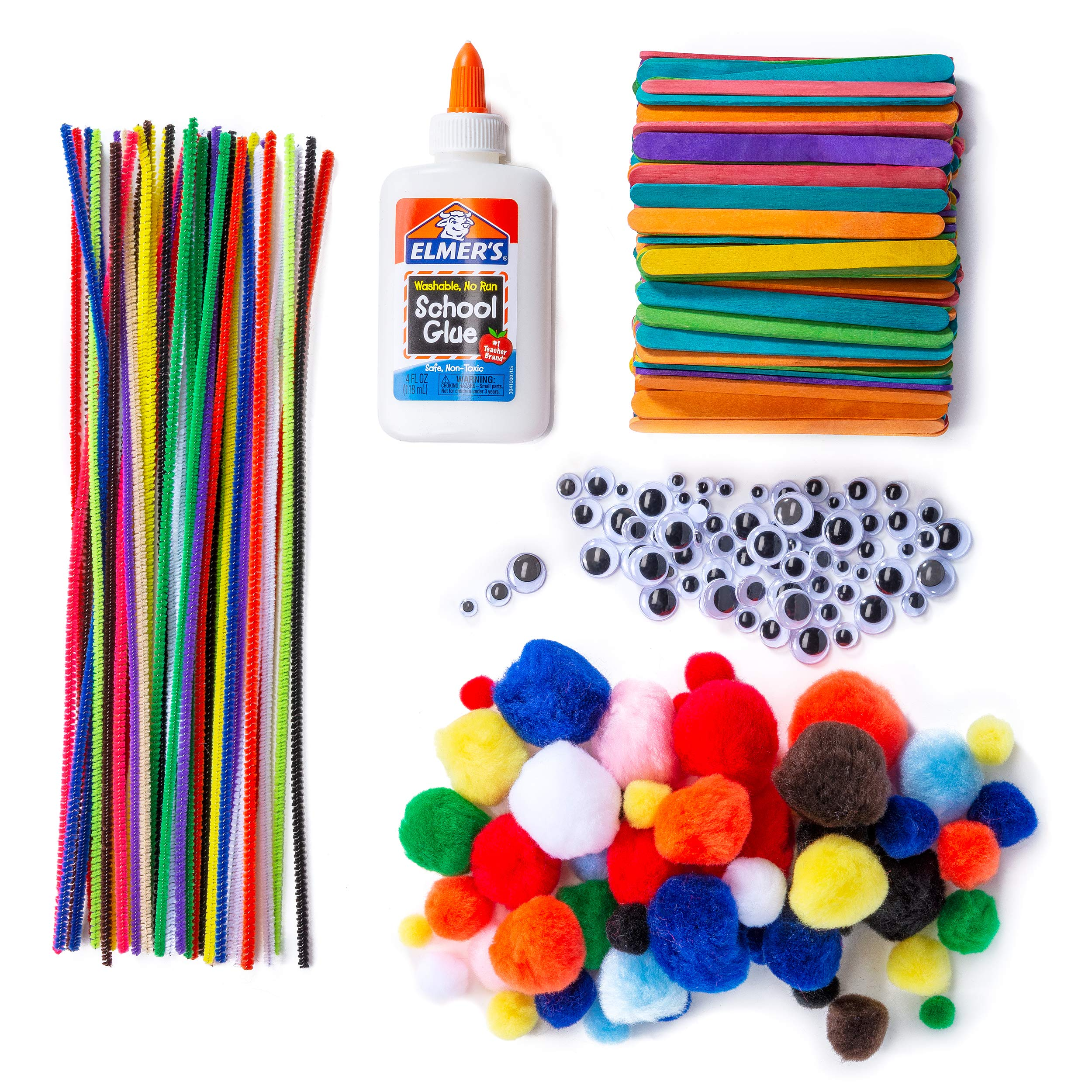 Chenille Stems Pipe Cleaners, Pom Poms, Craft Sticks, Wiggle Googly Eyes, Assorted Colors-400 Piece Set, With 1 Washable School Glue 4 Oz - Value Set for DIY Crafting, Fun Art Craft Projects and Decor