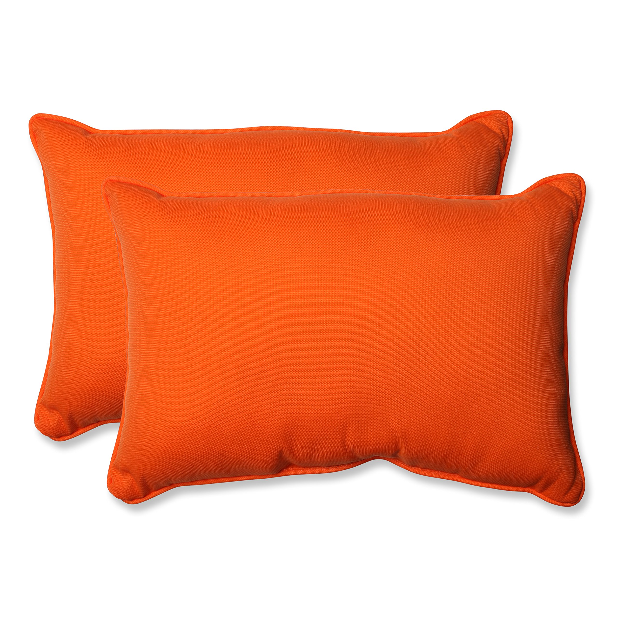 Pillow Perfect Indoor/Outdoor Sundeck Corded Oversized Rectangular Throw Pillow, Orange, Set of 2 by Pillow Perfect
