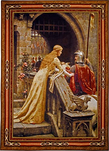 Godspeed by Edmund Blair Leighton Woven Tapestry Wall Art Hanging Medieval Lady with Arthurian Knight 100 Cotton USA Size 53×40