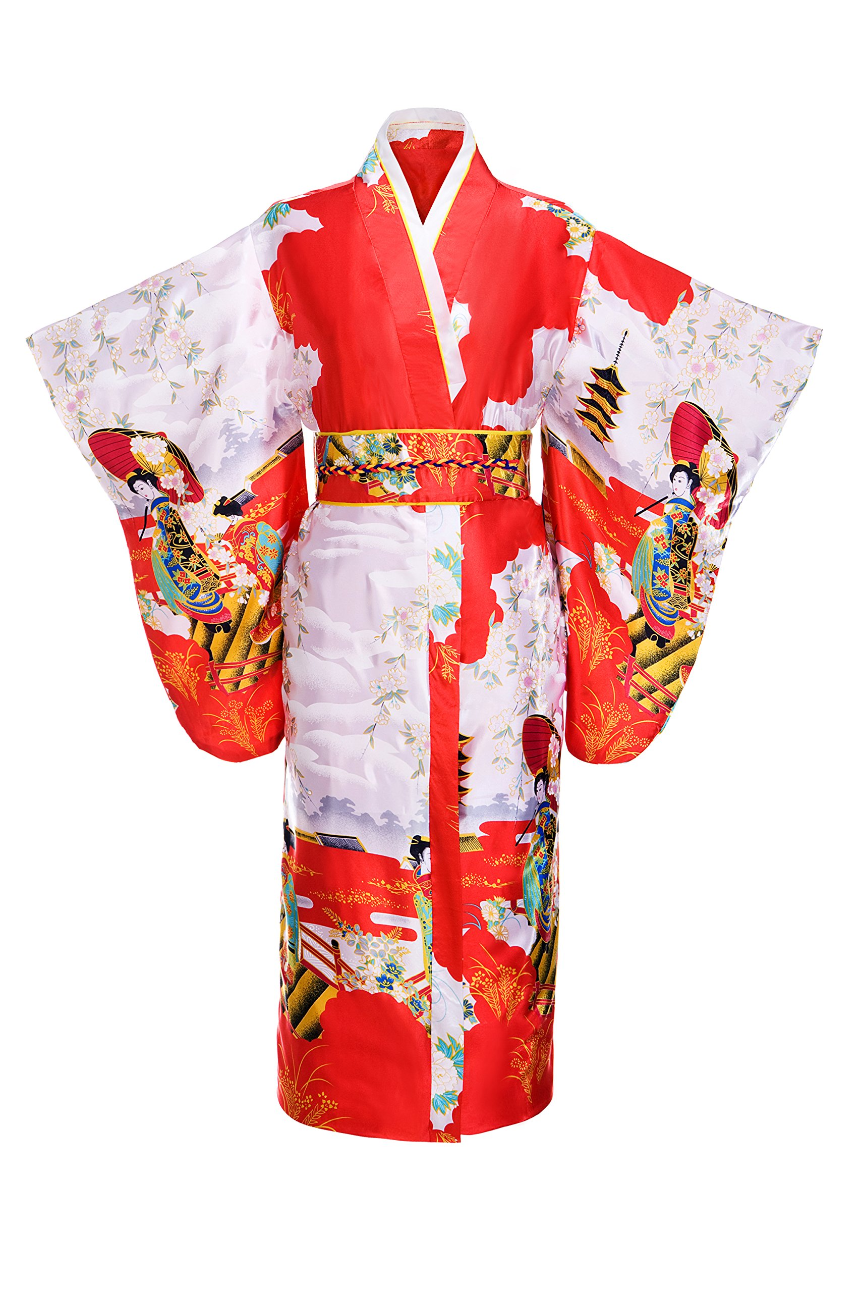 Old-to-new Women's Silk Traditional Japanese Kimono Robe with Pagoda Print Red