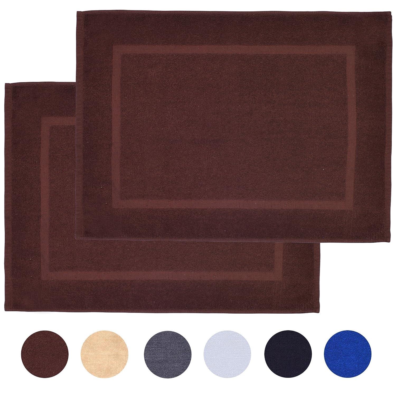 Alurri Bath Mat Set - 2 Pack - White 20x30 - Shower/Bathtub Step Out Reversible Towel Like Mat [NOT A Rug]| Soft Cotton Machine Washable & Super Absorbent Hotel Spa Bathroom Floor Towel Mats T2001