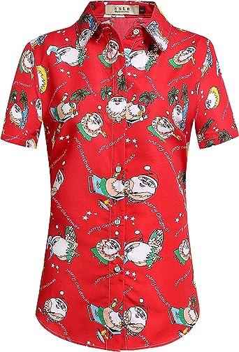 SSLR Camisa Hawaiana Tropical Estampado Navideño Papá Noel 3D Casual para Mujer: Amazon.es: Ropa y accesorios