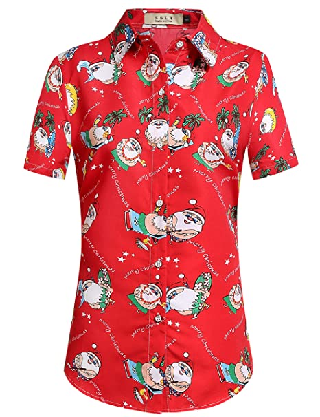 c2b8a36e7 SSLR Women's Christmas Tropical Button Down Short Sleeve Casual Hawaiian  Shirt (Large, Red)