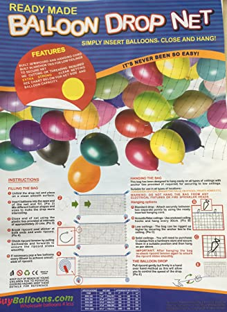 Balloon Drop Net Holds Approx 75 X 11 Latex Balloons Christmas