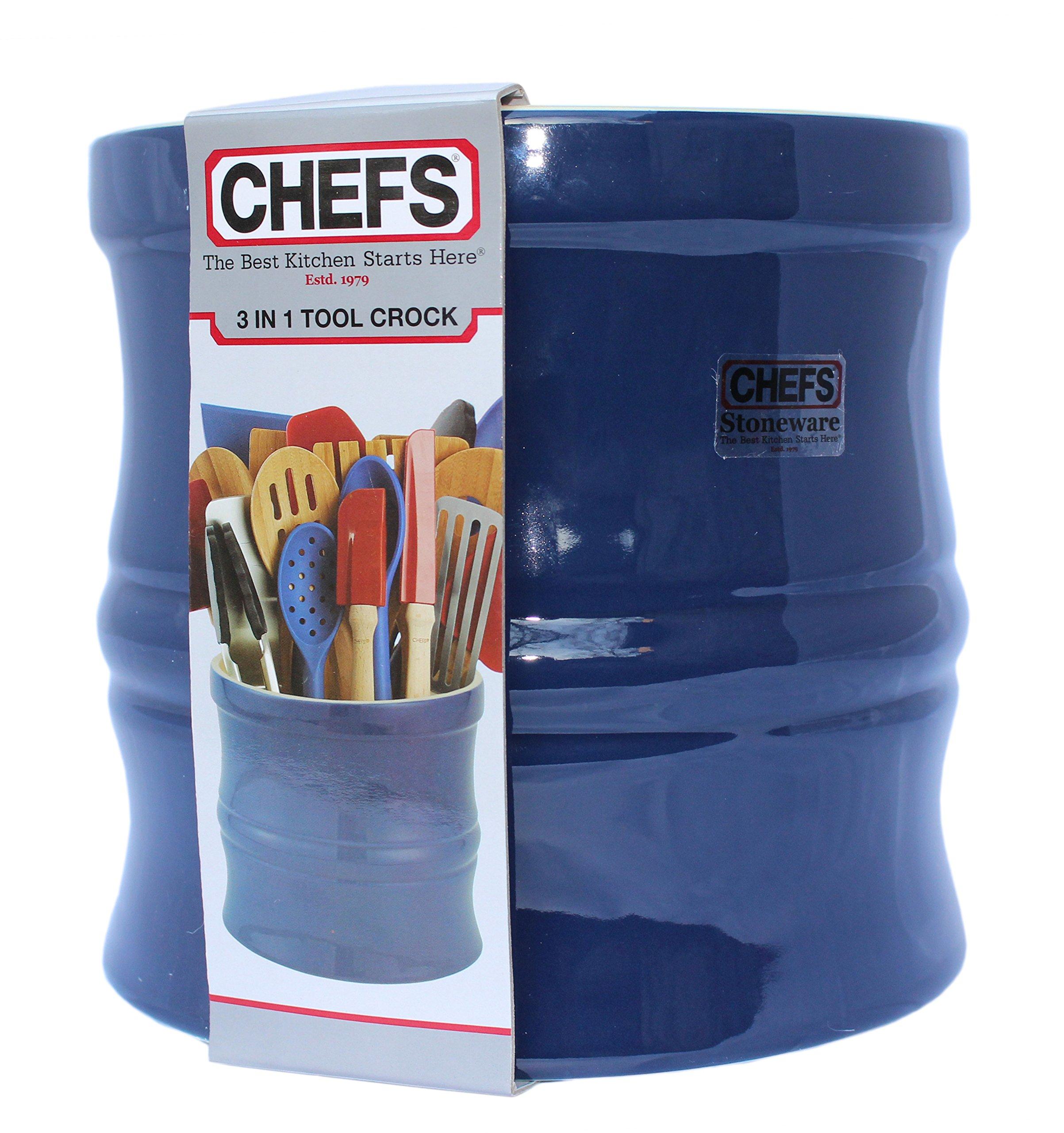 Kitchen Tools Organizer Navy Blue Stoneware Utensil Crock And Lazy