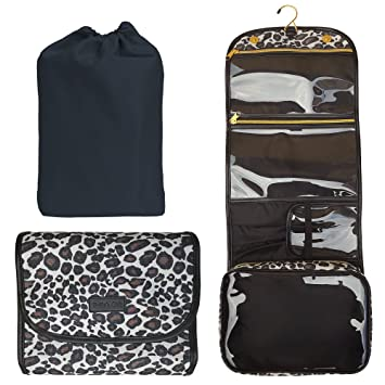 dd3852bc703f Hanging Toiletry Bag - TSA Approved Travel Kit for Women - Flat Makeup Case  - Compact