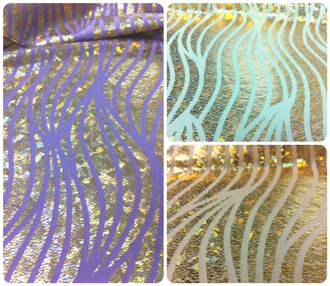 Zebra Pattern Shiny Gold Holographic Foil on Stretch Pastel Colored Polyester Spandex Fabric By the Yard (Tan) by Triple Textile   B012HN32JS