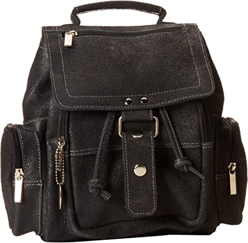 David King Co. Mid Size Top Handle Backpack Distressed, Black, One Size