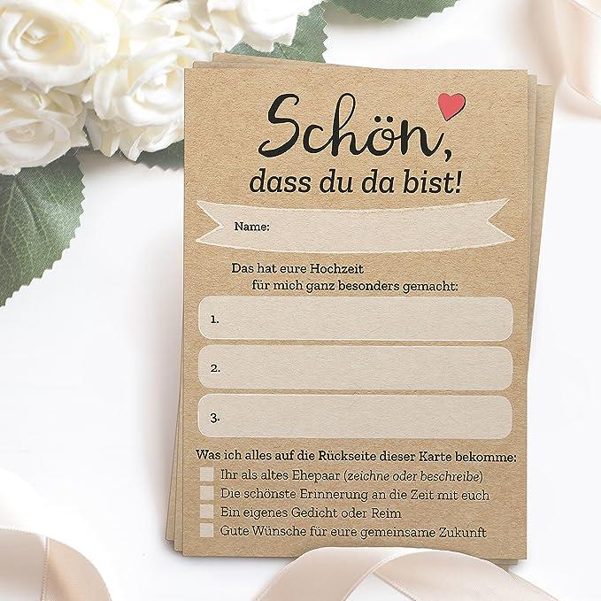 52 Postkarten - Schön, dass du da bist - mit INDIVIDUELLEN Fragen als Hochzeitsspiel für Gäste oder als Alternative zum Hochz