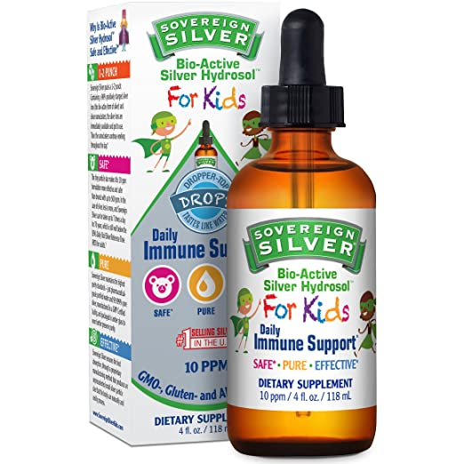 Sovereign Silver® For Kids Bio-Active Silver Hydrosol™ for Immune Support* - 4oz – The Ultimate Refinement of Colloidal Silver - Safe*, Pure and Effective* - Premium Silver Supplement