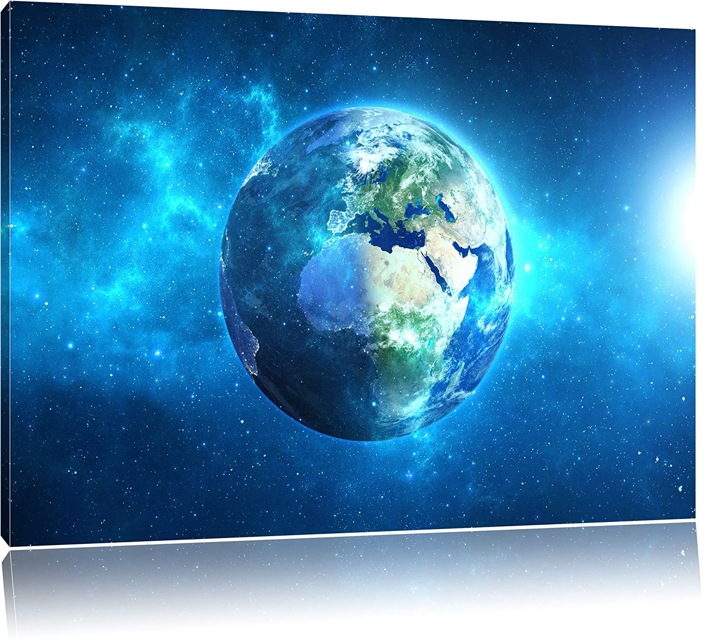 Erde im Universum Format  120x80 cm auf Leinwand, XXL riesige Bilder fertig gerahmt mit Keilrahmen, Kunstdruck auf Wandbild mit Rahmen, günstiger als Gemälde oder Ölbild, kein Poster oder Plakat