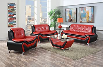 Cool Us Pride Furniture 4 Piece Modern Bonded Leather Sofa Set With Sofa Loveseat Chair And Coffee Table Red Black Machost Co Dining Chair Design Ideas Machostcouk
