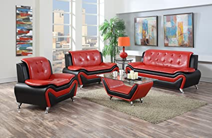 US Pride Furniture S5066 3PC 3 Piece Modern Bonded Leather Sofa Set