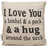 Cotton I Love You a Bushel and Peck 8 x 8 inch Square Decorative Throw Pillow