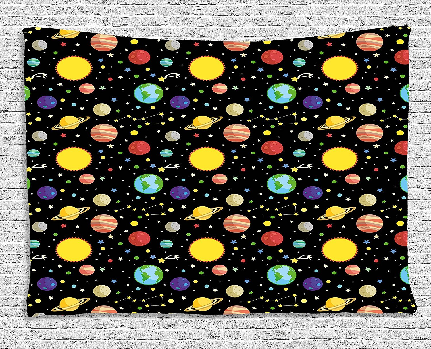asddcdfdd Space Tapestry, Comets and Constellations Stars with Polka Dots Earth Sun Saturn Mars Solar System, Wall Hanging for Bedroom Living Room Dorm, 80 W X 60 L Inches, Multicolor