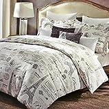 5 Piece Designer Cynthia Rowley Paris Eiffel Tower FULL/QUEEN SIZE Comforter Set